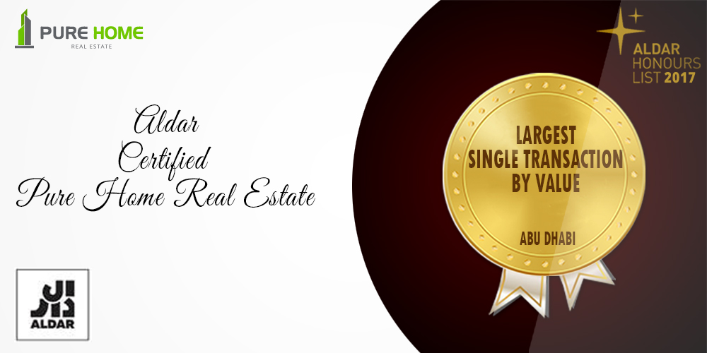 Aldar award for Pure Home Real Estate, Largest Single Transaction by Value, Abu Dhabi