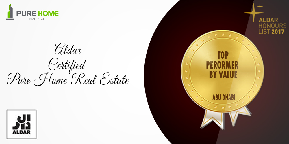 Aldar award for Pure Home Real Estate, Top Performer by Value, Abu Dhabi, UAE