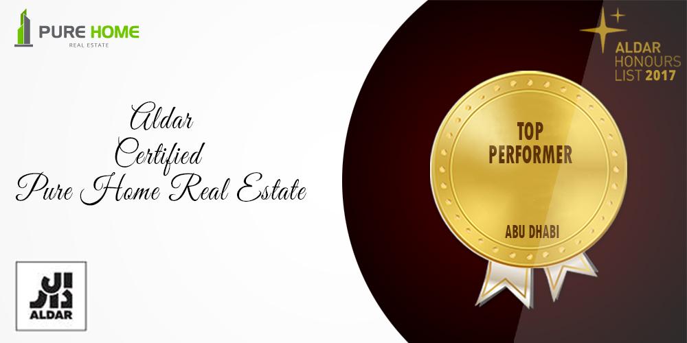 Aldar award for Pure Home Real Estate, Top Performer, Abu Dhabi, UAE