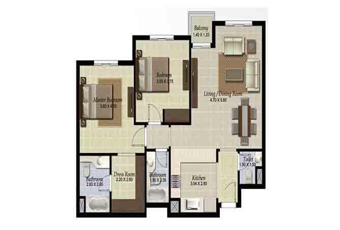 Al Ghadeer Floor Plan 2 Bedroom Apartment Type k2 1029 Sqft