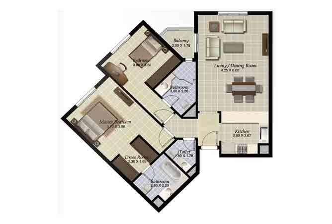 Al Ghadeer Floor Plan 2 Bedroom Apartment Type k3 1045 Sqft