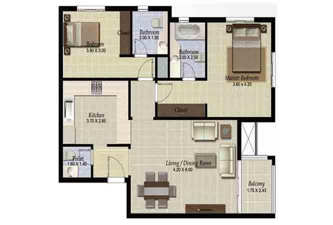 Al Ghadeer Floor Plan 2 Bedroom Apartment Type l2 1052 Sqft