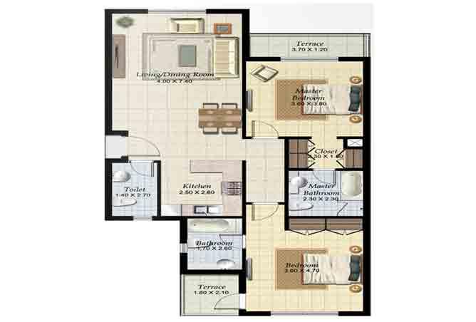Al Ghadeer Floor Plan 2 Bedroom Terraced Apartment Type b 1134 Sqft