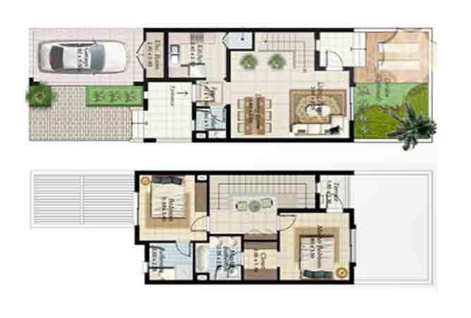 Al Ghadeer Floor Plan 2 Bedroom Townhouse Type 1 dash 1188 Sqft