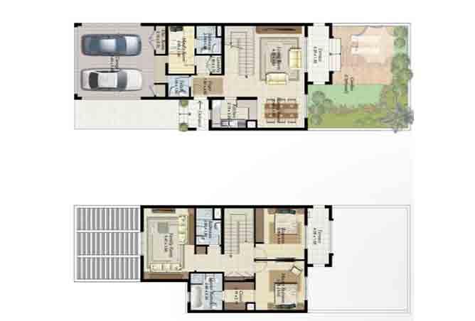 Al Ghadeer Floor Plan 2 Bedroom Townhouse Type a 1990 Sqft