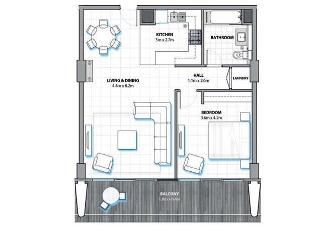 Al Hadeel Floor Plan 1 Bedroom Apartment 914 Sqft