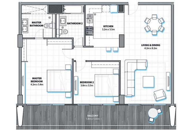 Al Hadeel Floor Plan 2 Bedroom Apartment Type a 1374 Sqft