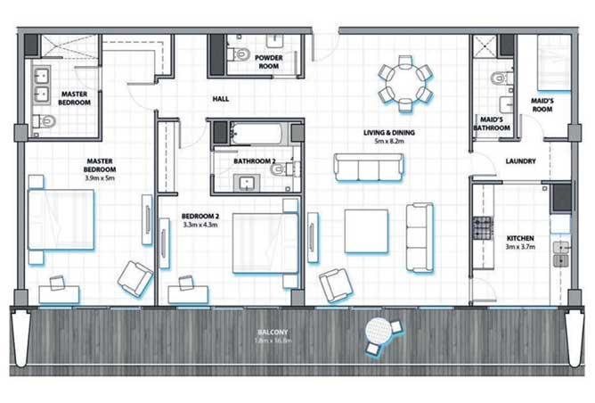 Al Hadeel Floor Plan 2 Bedroom Apartment type B 1822 Sqft
