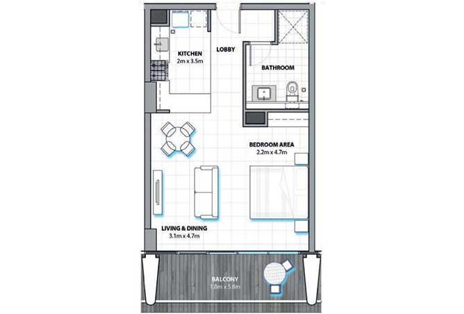 Al Hadeel Floor Plan Studio Apartment 606 Sqft
