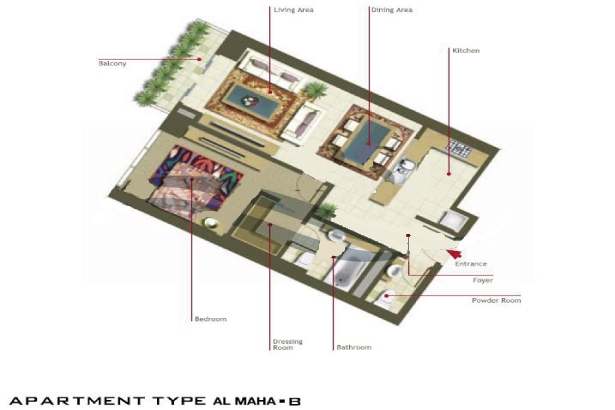 Al Maha Tower Floor Plan 1 Bedroom Apartment Type B