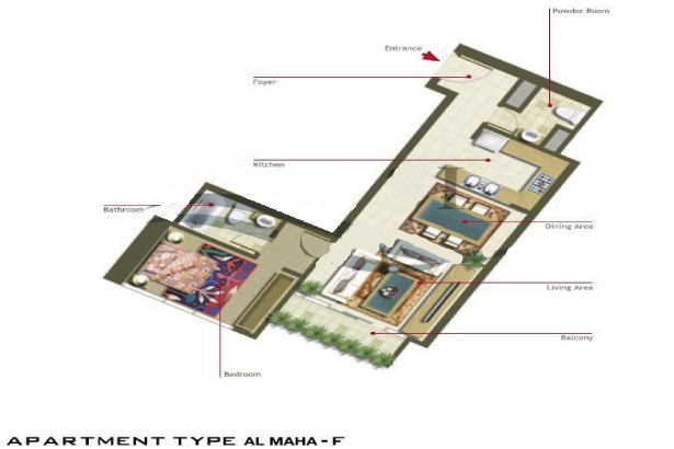 Al Maha Tower Floor Plan 1 Bedroom Apartment Type F