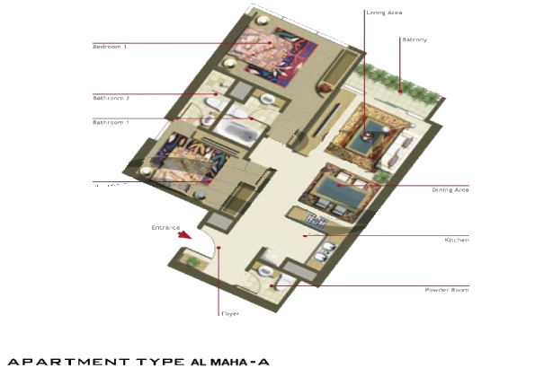 Al Maha Tower Floor Plan 2 Bedroom Apartment Type A