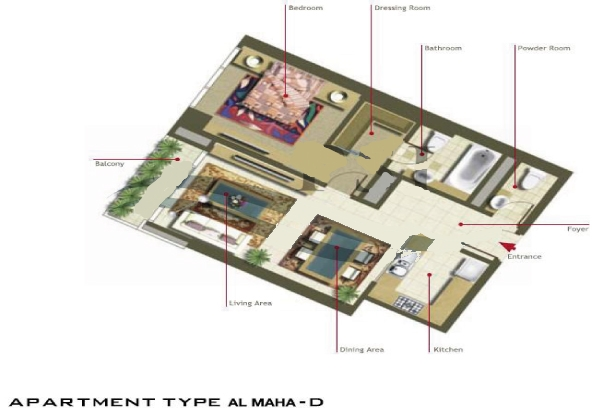 Al Maha Tower Floor Plan 2 Bedroom Apartment Type D