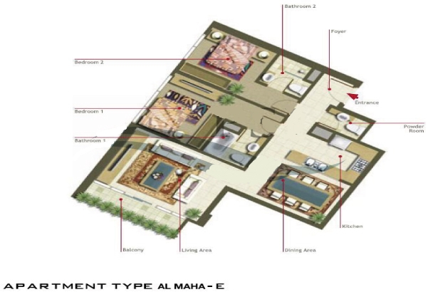 Al Maha Tower Floor Plan 2 Bedroom Apartment Type E
