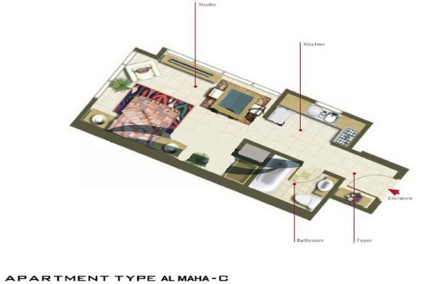 Al Maha Tower Floor Plan Studio Apartment Type C