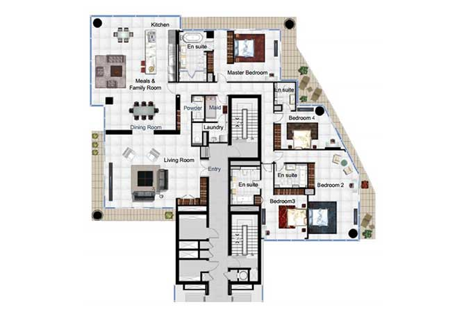Al Manara Residence Floor Plan 4 Bedroom Apartment Type A 4090 Sqft