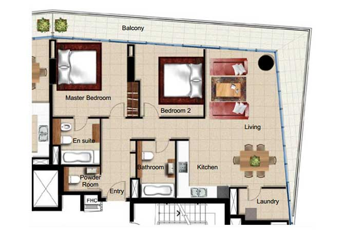 Al Naseem Floor Plan Building A 2 Bedroom Apartment Type 2p 1421 Sqft