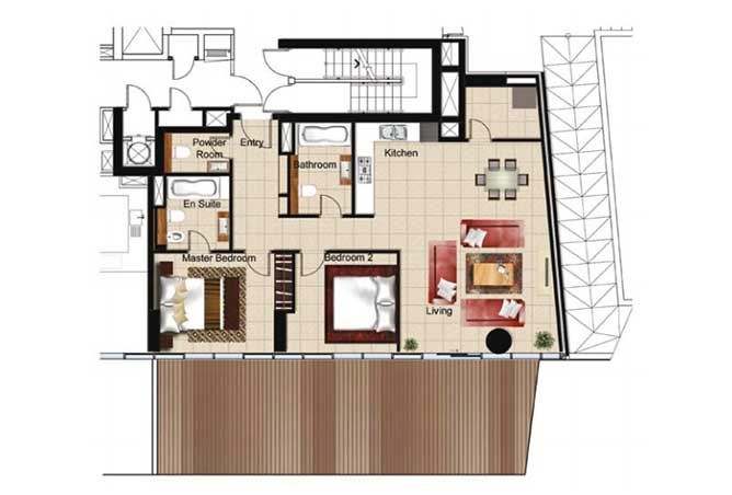 Al Naseem Floor Plan Building A 2 Bedroom Apartment Type 2z 1625 Sqft