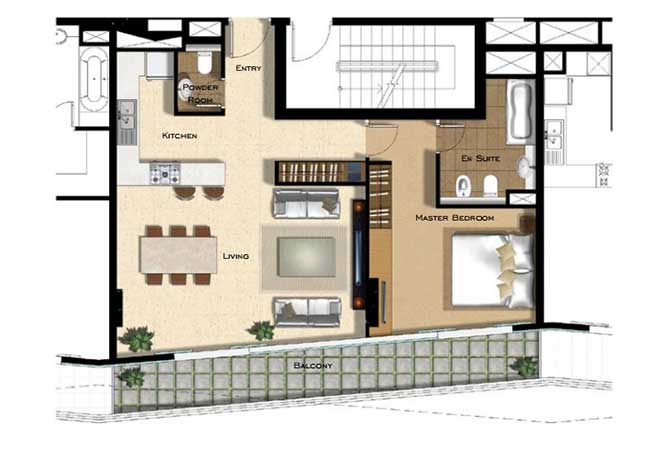 Al Naseem Floor Plan Building B 1 Bedroom Apartment Type 1h 964 Sqft