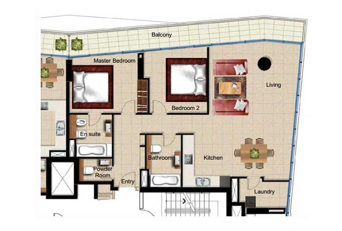 Al Naseem Floor Plan Building B 2 Bedroom Apartment Type 2q 1421 Sqft