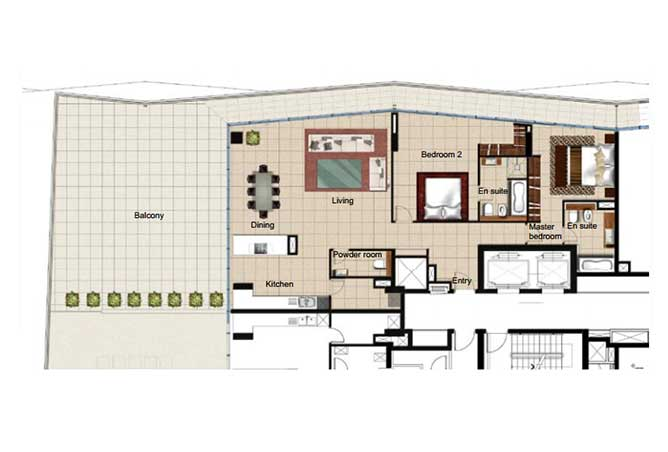 Al Naseem Floor Plan Building B 2 Bedroom Apartment Type 2s 3078 Sqft