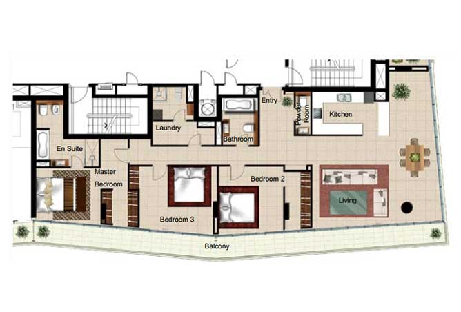 Al Naseem Floor Plan Building B 3 Bedroom Apartment Type 3o 2347 Sqft