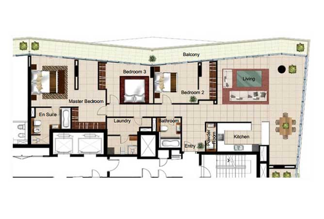 Al Naseem Floor Plan Building B 3 Bedroom Apartment Type 3o 2400 Sqft