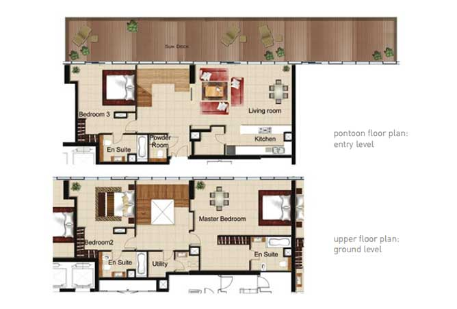 Al Naseem Floor Plan Building B 3 Bedroom Waterside Duplex Apartment Type 3w 3175 Sqft