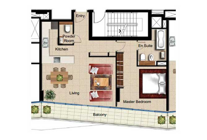 Al Naseem Floor Plan Building c 1 Bedroom Apartment Type 1d 990 Sqft