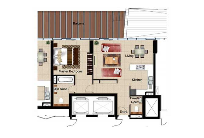 Al Naseem Floor Plan Building c 1 Bedroom Type 1l 990 Sqft