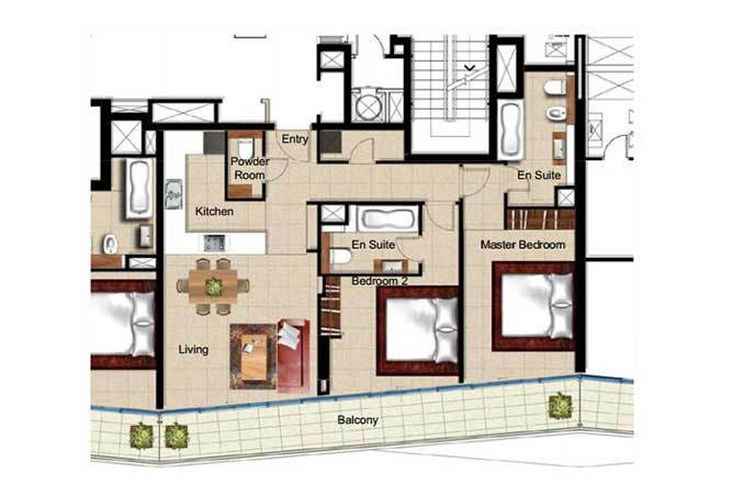 Al Naseem Floor Plan Building c 2 Bedroom Apartment Type 2h 1152 Sqft