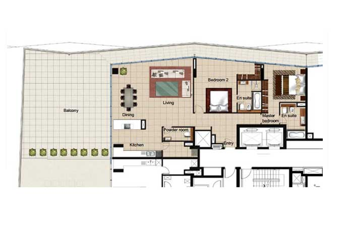 Al Naseem Floor Plan Building c 2 Bedroom Apartment Type 2s 3078 Sqft