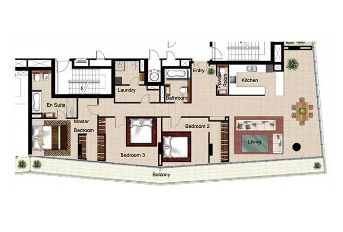 Al Naseem Floor Plan Building c 3 Bedroom Type 3p 2336 Sqft