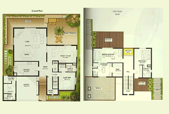 Al Raha Gardens Floor Plan 3 Bedroom Villa Type A