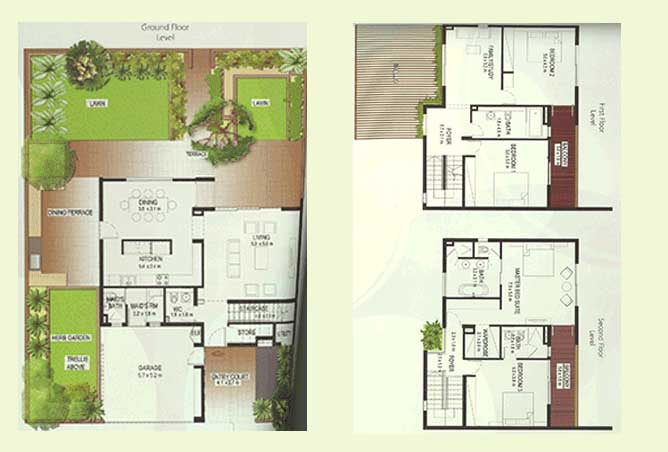 Al Raha Gardens Floor Plan 4 Bedroom Townhouse Type A