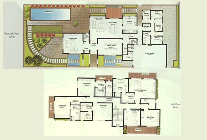 Al Raha Gardens Floor Plan 5 Bedroom Deluxe Villa Type S