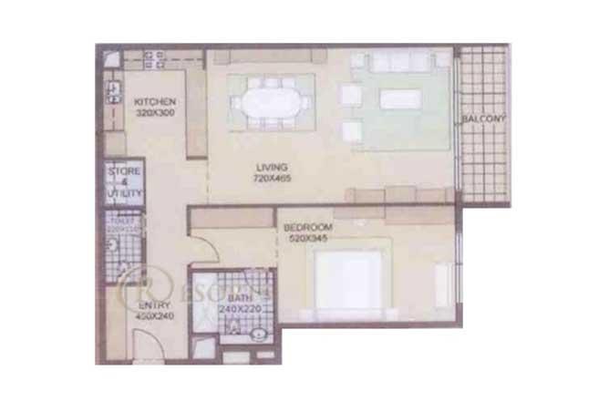 Al Reef Downtown Floor Plan 1 Bedroom Apartment 1108 Sqft