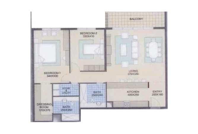Al Reef Downtown Floor Plan 2 Bedroom Apartment