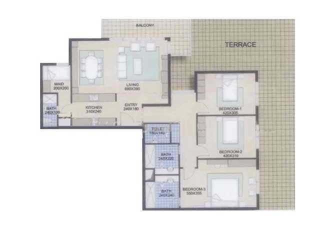 Al Reef Downtown Floor Plan 3 Bedroom Apartment 2238 Sqft