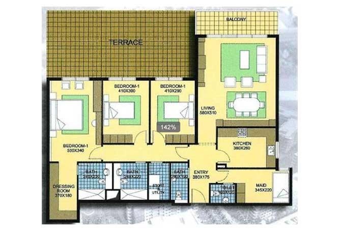 Al Reef Downtown Floor Plan 3 Bedroom Apartment 3b