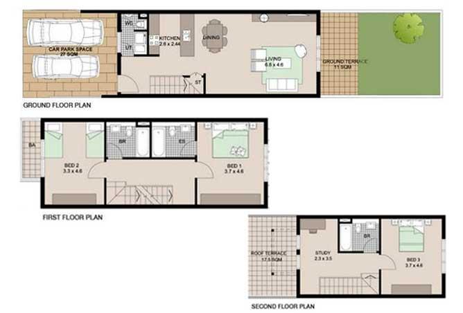 Al Reef Villas Floor Plan 3 Bedroom Villa Type b