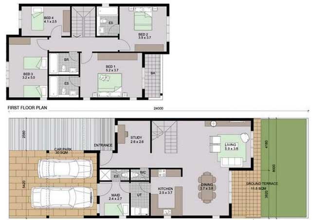 Al Reef Villas Floor Plan 4 Bedroom Villa Type c