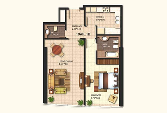 Al Wifaq Tower Floor Plan 1 Bedroom Apartment