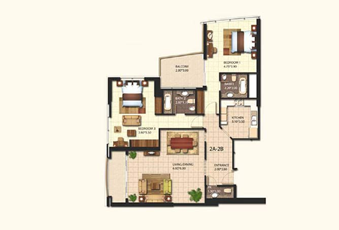 Al Wifaq Tower Floor Plan 2 Bedroom Apartment