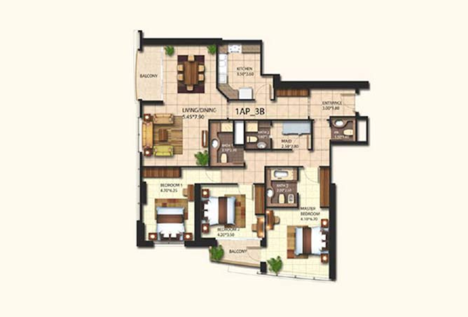 Al Wifaq Tower Floor Plan 3 Bedroom Apartment