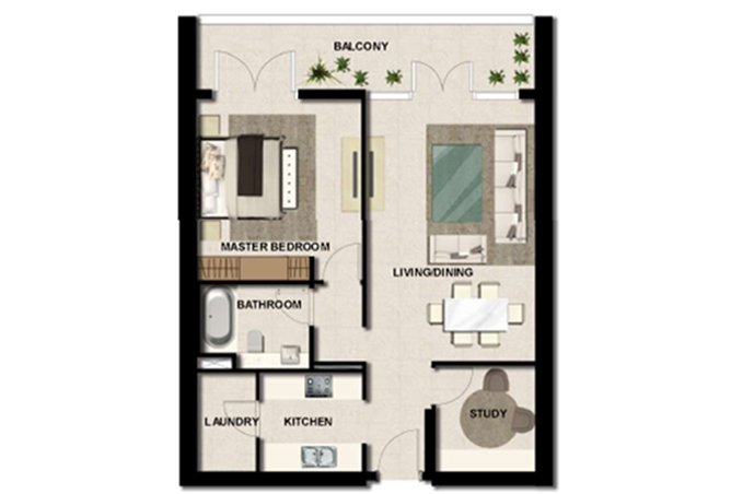 Al Zeina Abu Dhabi Floor Plan 1 Bedroom Apartment Type a 12a