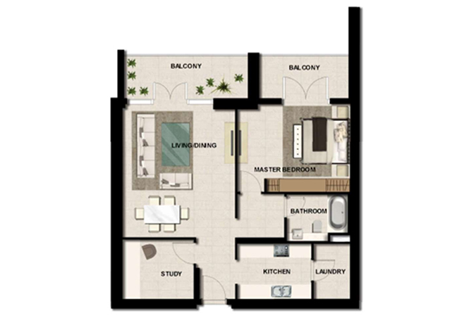 Al Zeina Abu Dhabi Floor Plan 1 Bedroom Apartment Type a 12b