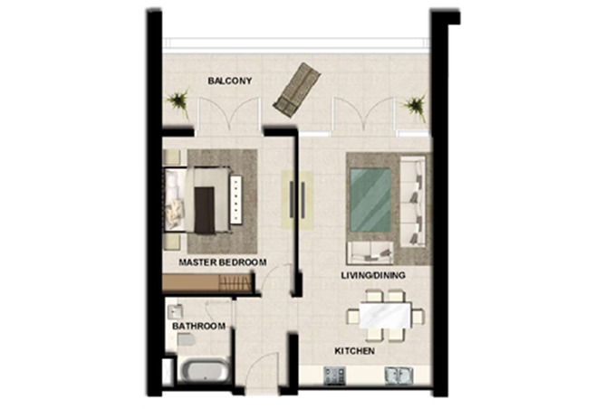 Al Zeina Abu Dhabi Floor Plan 1 Bedroom Apartment Type a 14