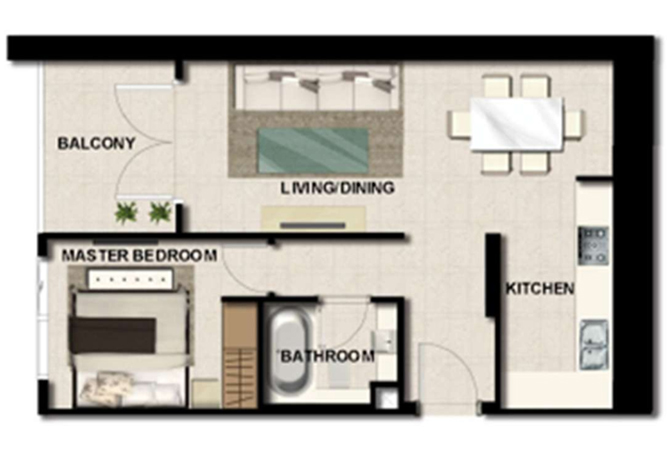 Al Zeina Abu Dhabi Floor Plan 1 Bedroom Apartment Type a 18
