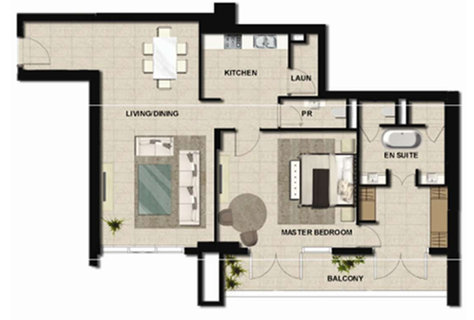 Al Zeina Abu Dhabi Floor Plan 1 Bedroom Apartment Type a 21